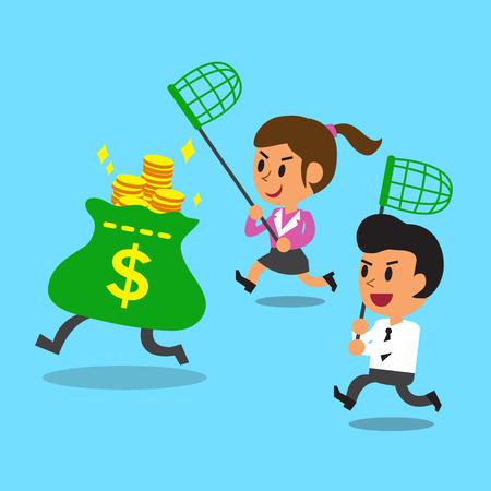 Geschäftsmann und Geschäfts laufen, um Geldbeutel zu fangen Standard-Bild - 45018198