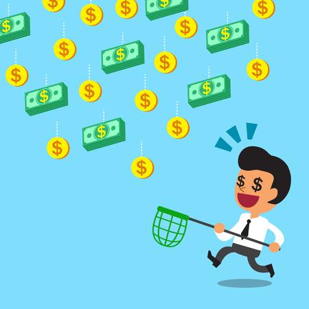 money falling: Businessman running to catch falling money