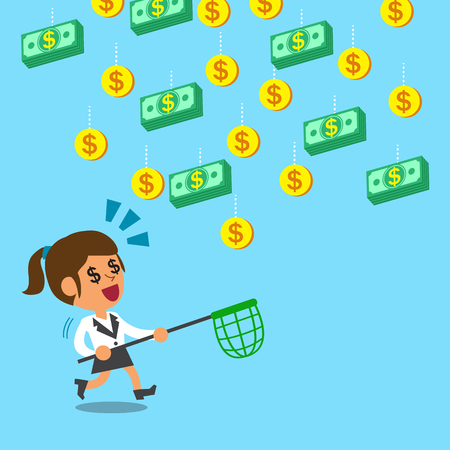 net income: Businesswoman running to catch falling money Illustration