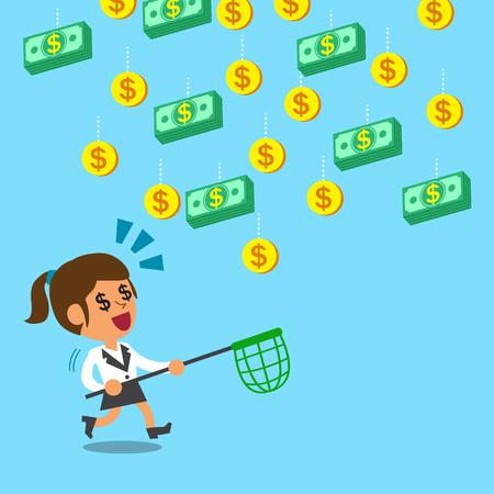 falling money: Businesswoman running to catch falling money Illustration