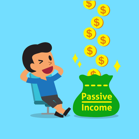 passive income: Cartoon a relax man earning passive income
