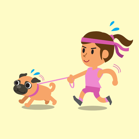 dog run: Cartoon woman running with her pug dog