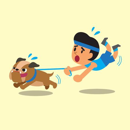 Cartoon Mann seine Bulldog gezogen Standard-Bild - 45246561
