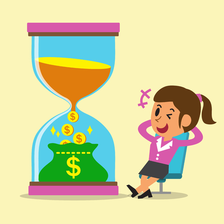 change business: Business concept convert time to money with businesswoman Illustration