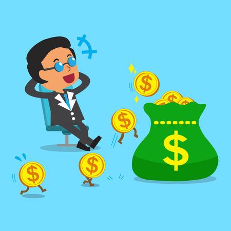 Concepto de negocio de dibujos animados jefe negocio ganar dinero Foto de archivo - 45534189