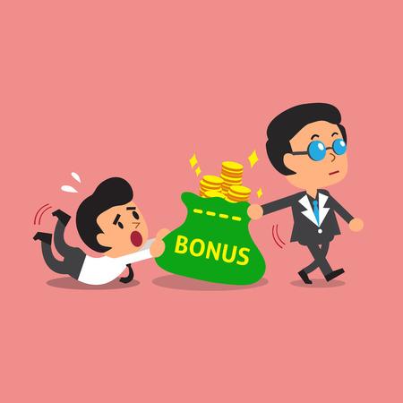 Business concept business boss pulling bonus money bag from a businessman