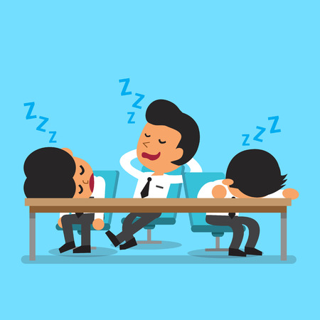 business team meeting: Cartoon business team falling asleep
