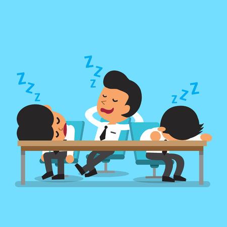 work meeting: Equipo de negocios de dibujos animados para conciliar el sue�o Vectores