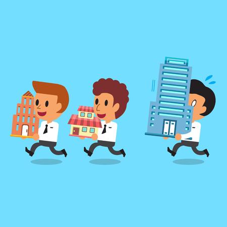 business team: Cartoon business team carrying buildings