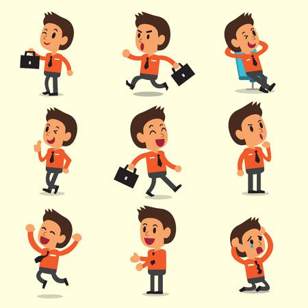 Cartoon een zakenman karakter met zich meebrengt op gele achtergrond