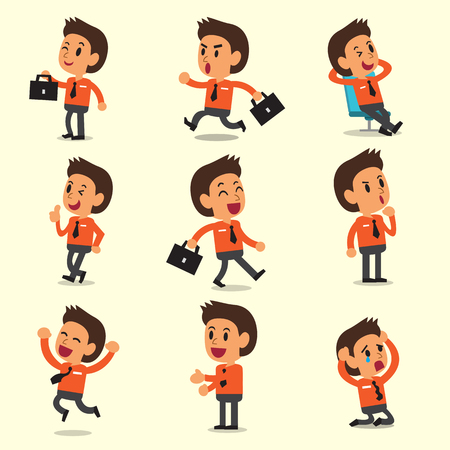 Cartoon a businessman character poses on yellow background Illustration