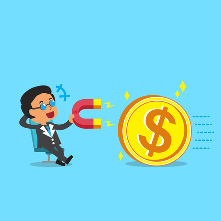 attracts: Cartoon business boss using a magnet to attracts big money coin