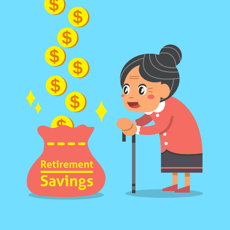 retirement savings: Cartoon an old woman with retirement savings bag