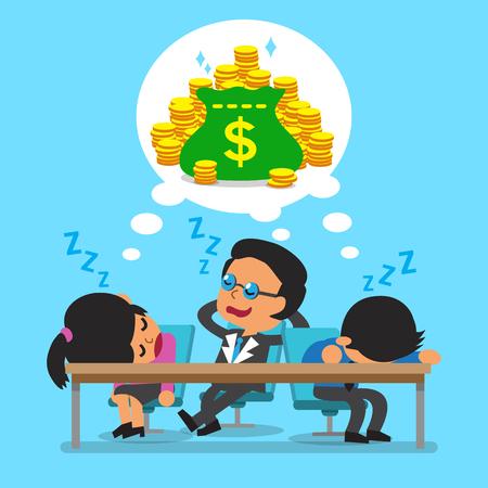 business team: Cartoon business team falling asleep and dream about money