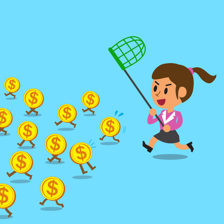 catch: Businesswoman running to catch money coins Illustration