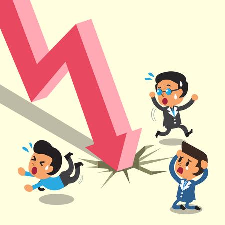stock vector: Cartoon business people escape from stock market arrow
