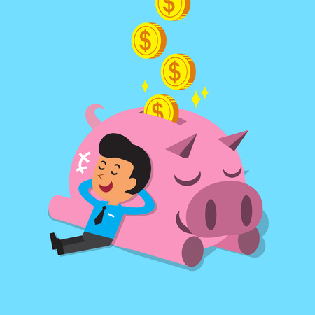 investment concept: Cartoon man falling asleep with pink piggy