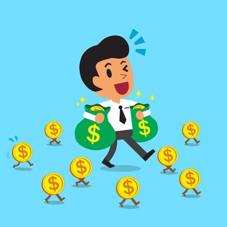 cartoon zakenman die geldzakken en wandelen met geld munten