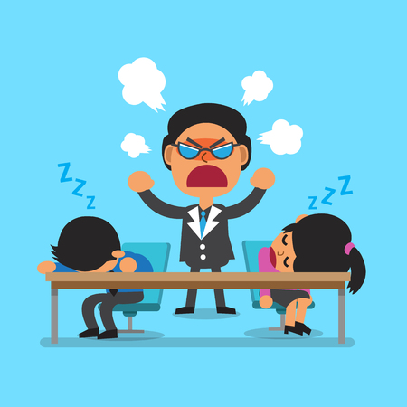 bag cartoon: Cartoon business team sleeping and angry boss