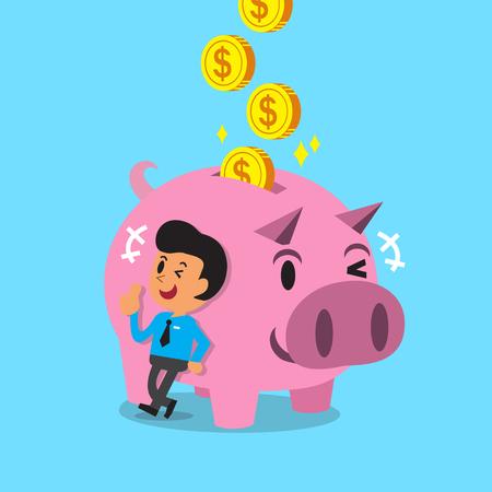 Cartoon man geld verdienen met roze piggy
