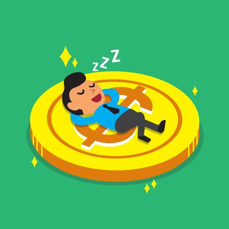 businessman shoes: Cartoon businessman falling asleep on a big coin