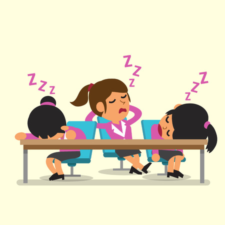 sleeping at desk: Cartoon businesswoman team falling asleep
