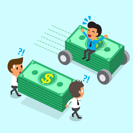 business money: Cartoon businessman sitting on money stack with wheels move faster than business team Illustration