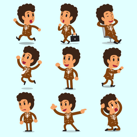 character poses: Cartoon businessman character poses in brown suit