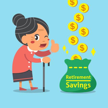 retirement savings: Cartoon old woman with retirement savings bag