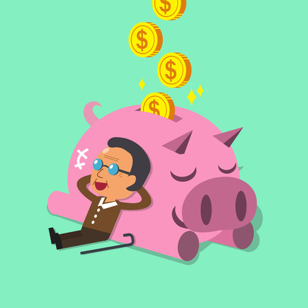success man: Cartoon old man falling asleep with pink piggy Illustration