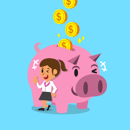 earning: Cartoon woman earning money with pink piggy Illustration