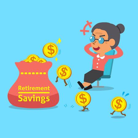 Cartoon alte Frau mit Altersvorsorge Beutel und Münzen Standard-Bild - 47140873