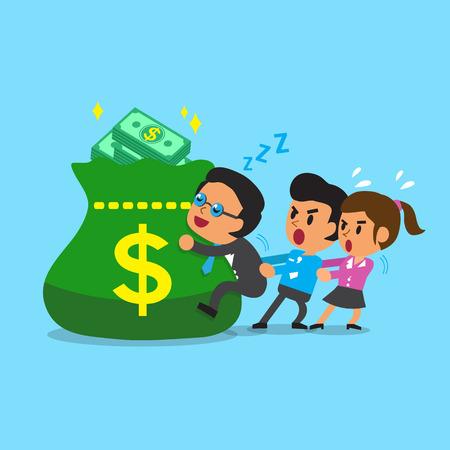 sleeping bags: Cartoon business team and big money bag