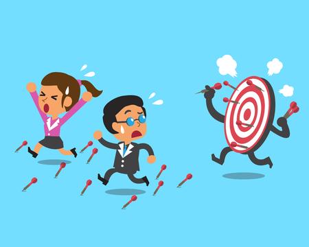 team worker: Business team and target Illustration