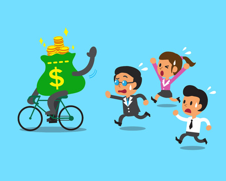 Cartoon Geldbeutel Fahrten Rad- und Business-Team Standard-Bild - 46350913