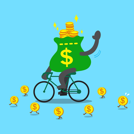 dollar bag: Cartoon money bag rides bike