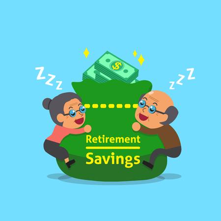 Cartoon old man and old woman falling asleep with retirement savings bag Illustration