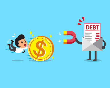 debt: Business concept debt letter using a magnet to attracts money from a businessman Illustration