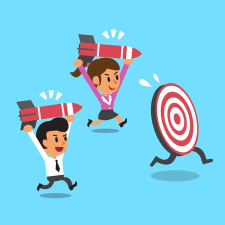 business team: Business team and target Illustration