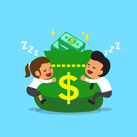 businessman shoes: Cartoon business team falling asleep with money bag