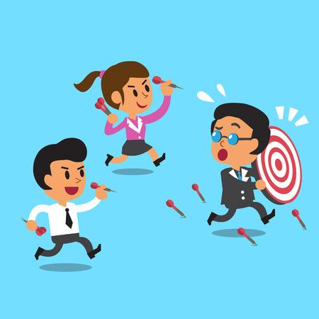 business team: Cartoon business team and target