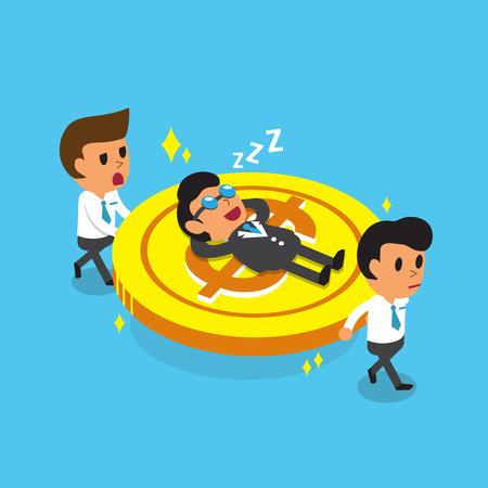 businessman shoes: Cartoon business team carrying big coin but business boss fall asleep