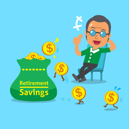 retirement savings: Cartoon old man with retirement savings bag and coins