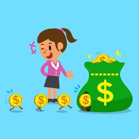 earning: Business concept cartoon a businesswoman earning money