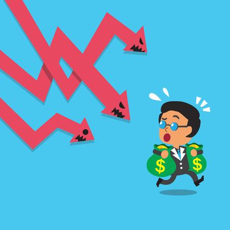 Cartoon business boss escape from stock market arrow