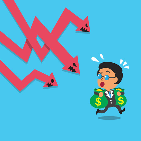 Cartoon Geschäfts Chef entkommen Börse Pfeil