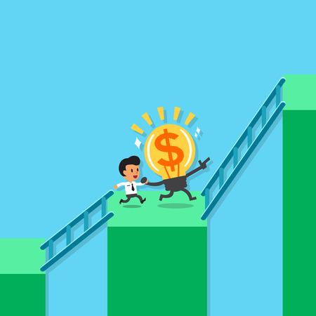 Cartoon Geschäftsmann und große Idee Lauf höhere Balkendiagramm Standard-Bild - 46318640