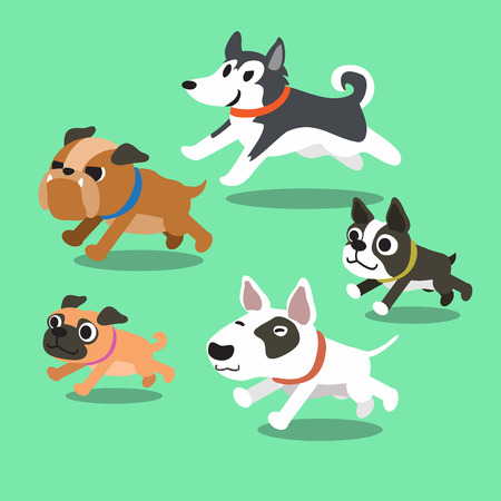 purebred dog: Cartoon dogs running Illustration