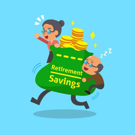 Cartoon old man and old woman with big retirement savings bag Illustration