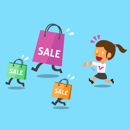 Cartoon a woman and shopping bags